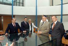 Besuch der Grazer Synagoge mit Konsul Brühl, Gerald Grosz, VizekanzlerHerbert Haupt und Bundeskanzler Dr. Wolfgang Schüssel